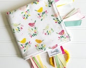 Sensory Ribbon Blanket,Lovey,Tag Blanket/Hello Bird in Multi/Organic Cotton Fleece