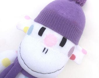 Chloe the Sock Monkey - white with coloured spots - *READY TO SHIP*