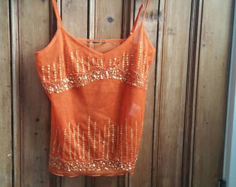 Ladies vintage cami top burnt orange sequins tops tees vest xs small womens clothing straps summer festival clothes  Dolly Topsy Etsy UK