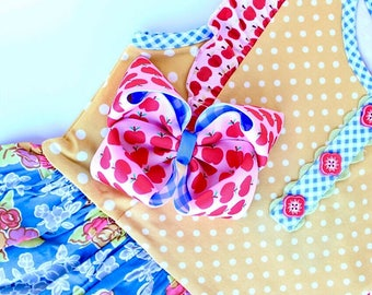 MJ Bows - Apple A Day Emory - medium bow made to match Matilda Jane Clothing, Back To School