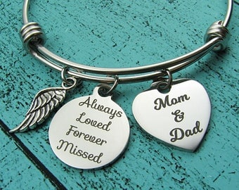 remembrance bracelet, Mom and Dad sympathy gift, loss of loved one, memorial gift parents, remembering Dad Mom, always loved forever missed