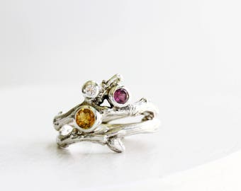 Diamond, Citrine and Rhodolite Garnet, 3 Stones Silver Twig Rings, Nature Engagement Ring Set