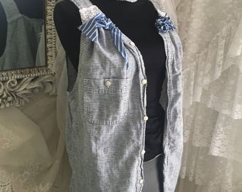 Upcycled tattered fringed tunic, unique boho chic with choker
