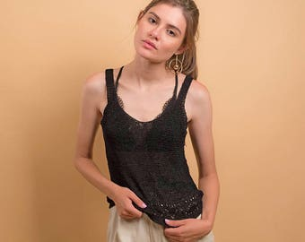 Minimalist 90s Knit Top / Sheer Knit Top / Knit Tank / Simple Top Δ size: XS/S