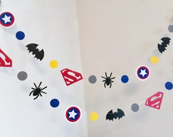 Super hero Garland - Super Man inspired banner - Super Hero Birthday Decoration - Spider man Themed Party - Batman banner Boys Room Decor