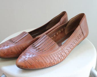 80s brown leather sandals woven huaraches wedge sandals womens vintage woven leather Slip Ons boho 1980s Women's Shoes size 9 Narrow