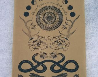 Rabbit Skull Antler Collage Sew On Punk Back Patch in Tan
