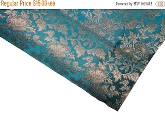 15% off on One yard of Indian  brocade fabric in Teal blue with silver grey