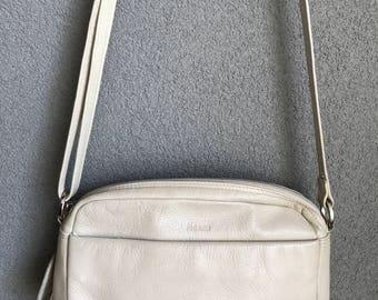 Vintage Picard beige leather crossover shoulder bag