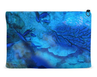 Accessory Pouch Oceanscape Design   Zippered Accessory Bag   Cosmetics Bag   Kindle Pouch   iPad Pouch   Organizer Bag