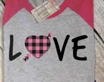 Valentines Shirt, Valentine Shirt, Love Shirt, Valentines Day, Buffalo Plaid Shirt Womens Valentine Shirt, OnHeavenlyLane, Raglan Tee, Shirt