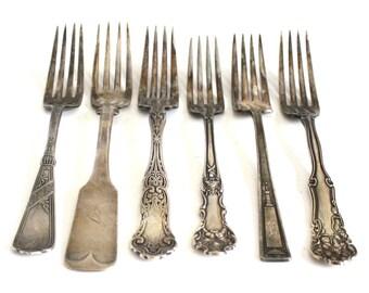 Antique Silverplate Forks Art Deco Flatware, Eastlake Silverware, Victorian Silver, Tarnished Dinner Fork Food Photography Props 1847 rogers