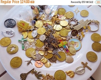 30% OFF SALE Spiritual Findings Lot Christian Catholic Jesus Crosses Angels Saints Coins Charms Stampings Necklaces Pins Religious Mix 96 Pi