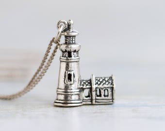 Lighthouse Necklace - Sterling Silver Miniature Pendat and Chain - Vintage Quirky Jewelry
