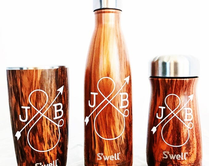 Monogram S'well Tumbler - Teakwood - Wedding, Christmas, Anniversary, Valentine's Day Swell Bottle