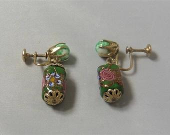 Vintage Gold Tone Green Resin Earrings Flowers p1290279