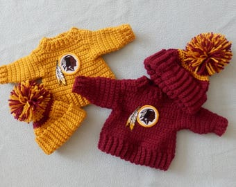 "18"" Doll American Doll Crocheted Winter Sweater and Hat Set College or Football Team You Choose"