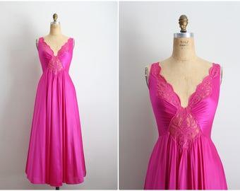 Vintage 60's Olga Nightgown Pink Slip Dress / Full Slip / Wedding Slip/ Lace lingerie/ Bright Pink Slip / Fuchsia / Size S/M
