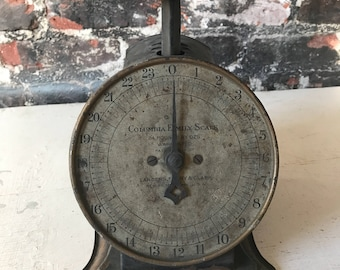 Vintage antique Columbia farmhouse kitchen scale counter scale shabby chic
