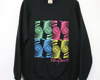 Rolling Stones Sweater Vintage sweatshirt 1989 Steel Wheels Tour Concert Tee 1980s Mick Jagger Keith Richards Rock And Roll Pullover