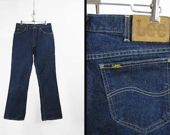 Vintage Lee Dark Denim Jeans Leather Patch Lee Riders Dark Wash Made in USA - 33 x 32