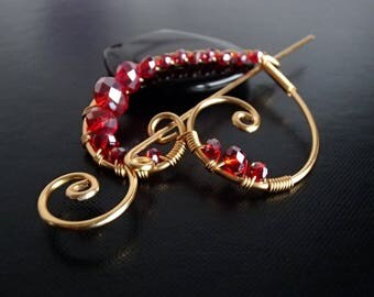 Red Heart Shawl Pin, Crystal Scarf Pin, Sweater Brooch, Hair Pin, Knitting Accessories, Gold Wire pin