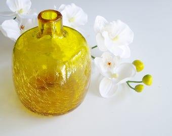 Vintage Vase, Blenko, Yellow, Crackle Glass, Joel Myers, 6424, Lemon, Candle Holder, Mid Century, Art Glass, Bud Vase, Blenko Designer