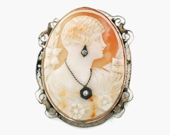 Antique Diamond and Shell Cameo Habille Brooch Pendant set in 14k White Gold Filigree
