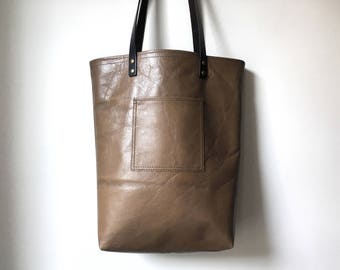 Leather Tote Bag - Repurposed Brown Beige Tote Bag