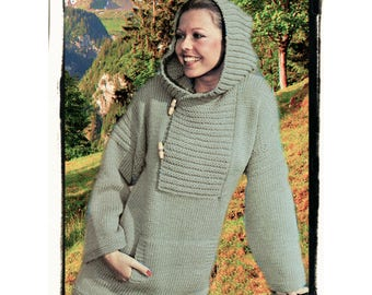 Instant Download PDF KNITTING PATTERN to make a Cowl Hooded Loose Fit Womens Toggle Fastened Jacket Over Sweater to fit 34 to 38 inch Bust