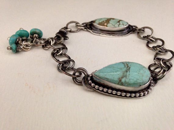Handmade Jewelry, Southwestern, Blue Turquoise, Turquoise Jewelry, Chain Link Bracelet, Sterling Silver Bracelet