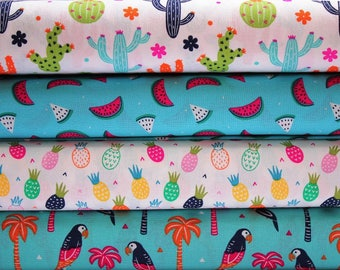 Fat quarters pack, Quilting fabric, fat quarters cotton fabric bundle, tropical fabrics, summer vacation cottons, novelty craft cottons, UK