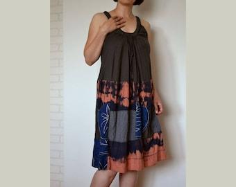 Summer dress sleeveless, women's loose dress, cotton dress, patchwork dress, boho dress, dress size L, holiday dress, artsy unique dress