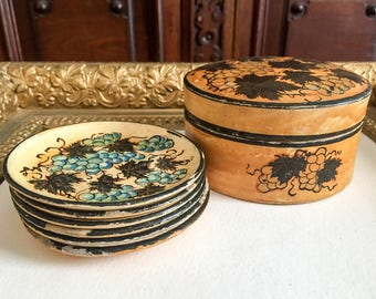 Set of 6 Jerywil Coasters Grapes and Vine Motif with Lidded Box