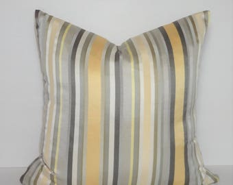 INVENTORY REDUCTION Yellow Grey Taupe Beige Sateen Silk Stripe Home Decor by HomeLiving Pillow Cover Size 18x18