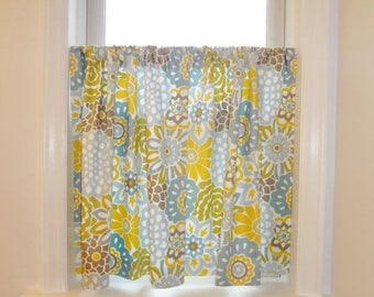 FALL Is COMING SALE Cafe Curtains Window Treatment Waverly Buttons U0026 Blooms Pom  Pom Curtains Half
