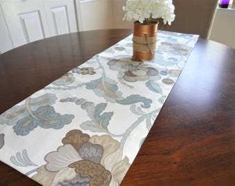 Slate Blue & Brown Table Runner Table Decor Blue Floral Brown Floral Table Runners 12x72