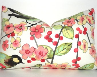 Pink Green Ivory Bird Floral Leaves Lumbar Pillow Cover Decor by HomeLiving Size 12x18
