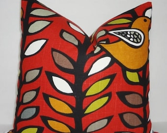 SPRING FORWARD SALE Richloom Oslo Spice Red Grey Gold Bird Pillow Cover Decorative Bird & Leaf Pillow Cover Throw Pillow 18x18