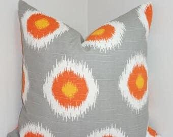SPRING FORWARD SALE Grey Orange White Ikat Pillow Cover Decorative Pillow Throw Pillow 18x18