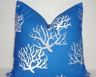 SPRING FORWARD SALE New Cobalt Blue Coral Pillow Cover Royal Blue Grey White Coral Pillow Cover All Sizes