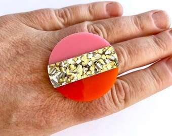 Round Split Ring - Pink, Orange, Gold Glitter - Each To Own Original - Mod Design Mid Century Statement Ring Large