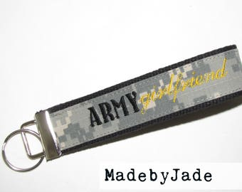 ARMY Girlfriend Custom Key Fob in Black and Yellow