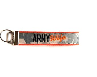 Orange  ARMY Wife Custom Key Fob - Available in 18 Colors - Custom - Made by MILSO