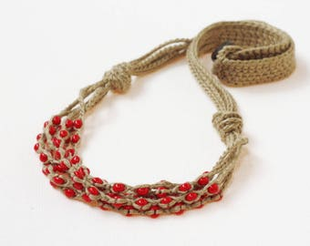 Red necklace Multi strand crochet beaded necklace Natural linen jewelry Boho chic Rustic  necklace Gift under 20 for her Bohemian style