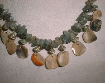 Abalone Necklace - Shell Necklace - Calming Energies - One of a Kind Necklace - Abalone and Jade