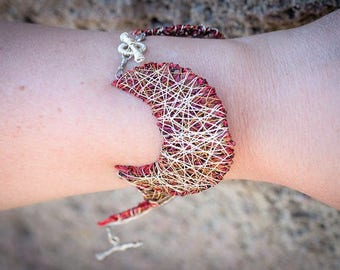 Celestial jewelry, star moon bracelet, crescent moon, versatile, outer space, red bracelet, wire sculpture art, hippie, Christmas gift women
