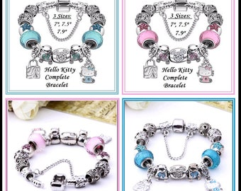 HeLLO KITTY and MiCKEY ~ Choice PiNK or BLuE Complete European Style Snake Chain Bracelet 3 Sizes w 13 Charms, Lampwork Beads & Safety Chain