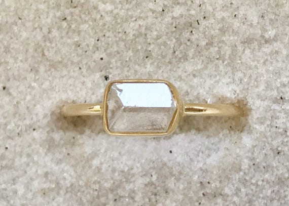 Nigerian phenakite crystal and solid 18k gold ring