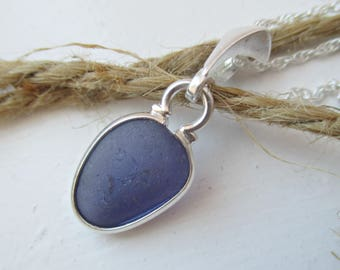 Purple Sea Glass Sterling Silver Necklace